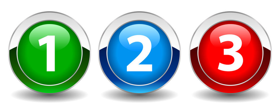 Numbers buttons set, vector illustration
