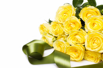 Beautiful bouquet of yellow roses with tape