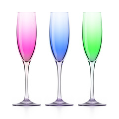 Three colorfull wineglasses on white