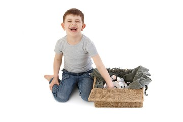 Little boy laughing playing
