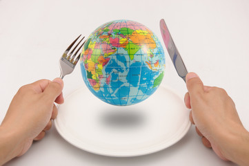 The world on plate waiting for dinner