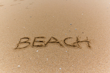 Escritura en la playa beach