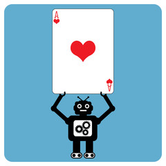 Modern robot with heart ace