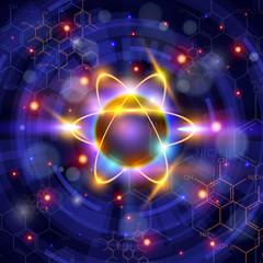 atom symbol, technology background & chemical formulas