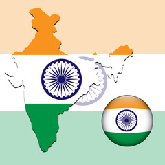 Vector illustration of india flag on map and ball