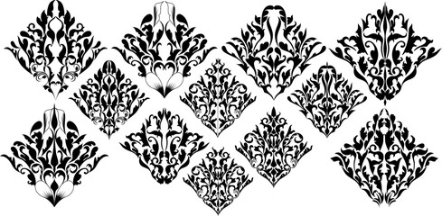 Awesome Damask Floral Element Collection