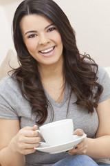 Beautiful Hispanic Latina Woman Drinking Tea or Coffee