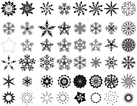 Vector Set Of Artistic Flourish Snowflakes