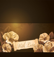 vector grunge, romantic, vintage background with roses