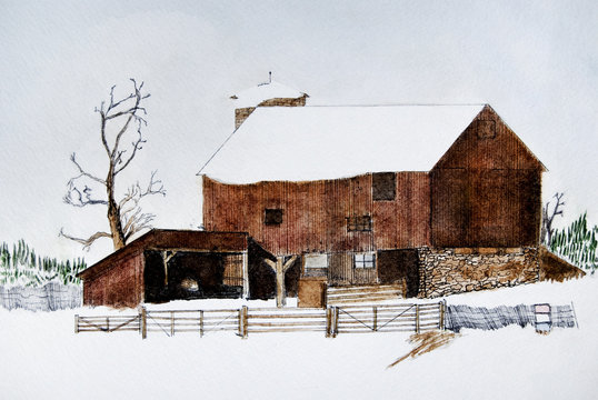 Winter watercolor of barn
