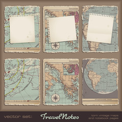 torn grungy notebook pages on antique maps