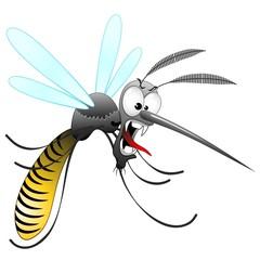 Door stickers Draw Zanzara Tigre Cartoon-Funny Mosquito-Moustique-Vector