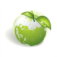 Map of the world on an apple. Eco and BIO symbol.