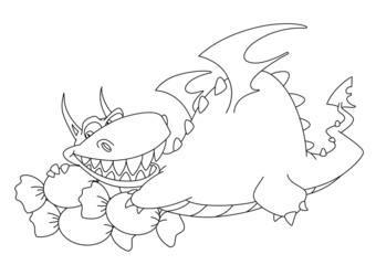 big dragon with sweets outlined