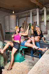 sexy girls in the carpentry shop carpenters