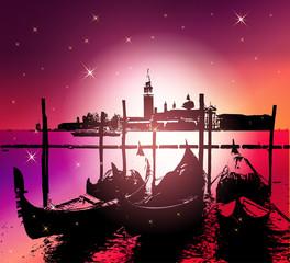 Venice Gondolas.Vector Illustration