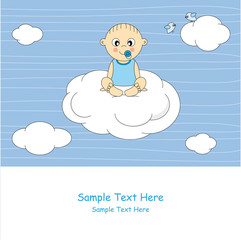 Postal bebé en una nube