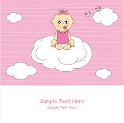 Bebé niña sentado encima de una nube