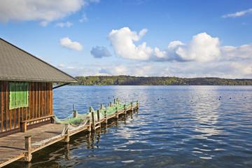 lake and hut