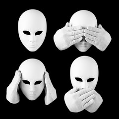 See nothing, hear nothing, nothing will not tell anyone / mask a