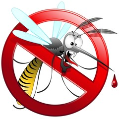 Poster Draw Zanzara Tigre Cartoon Divieto-Mosquito Forbidden-Vector