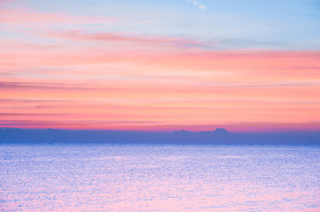Bright Colorful Sunset On The Sea With Beautiful Clouds