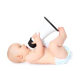 Baby spielt mit Megaphon