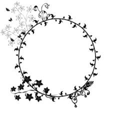 Floral Rahmen Karte rund schwarz