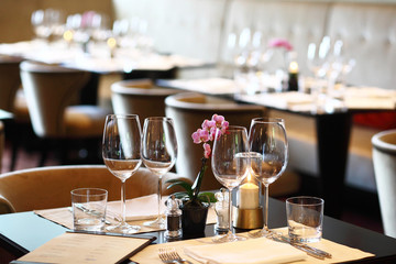 Fine dining set up, restaurant, posh hotel