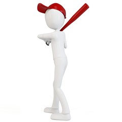3d man with red cap and baseball
