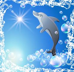 Photo sur Aluminium Dauphins Dolphin and bubbles