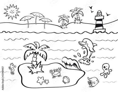 Disegno da colorare per bambini con tema vacanze al mare for Immagini squali da stampare