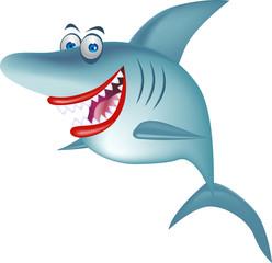 Cartoon smiling shark isolated