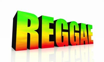 3D Text Reggae isoliert - grün gelb rot