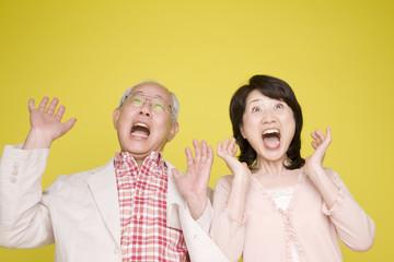 両手をあげて驚く老夫婦
