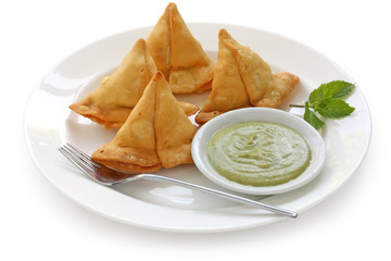 samosa with fresh mint dipping sauce , indian food