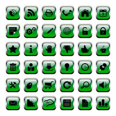 36 Vector Icons - Buttons Grün
