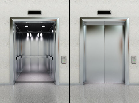 Open and closed elevator in lobby
