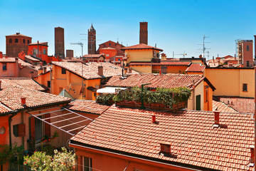 Aerial view of red roofs in Bologna