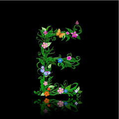 Wall Mural - letter of romantic flowers