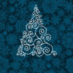 Christmas tree illustration on blue. EPS 8
