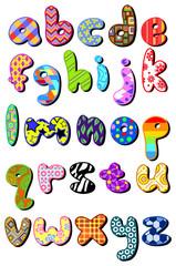 Patterned lower case alphabet