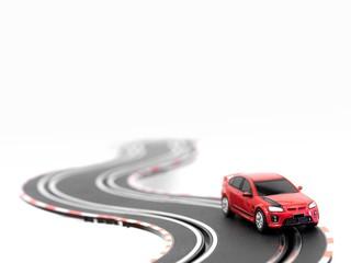 Deurstickers Snelle auto s Slot Car Track