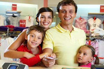Family at shop