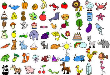 набор иконок детских продуктов питания и животных