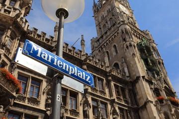 Marienplatz München-Im Hintergrund: Neues Rathaus München
