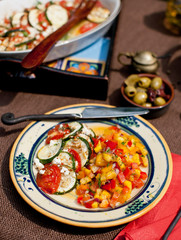 Baked Tomatoes and Zucchini with Peach Salsa