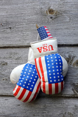 Boxing Gloves and Tiny US Flag