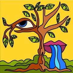 Foto op Canvas Klassieke abstractie tree