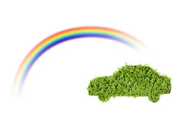 切り絵のエコカーと虹